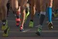 Marathon running race people competing