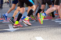 Marathon running race, people feet on road, sport concept Royalty Free Stock Photo