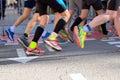 Marathon running race, people feet on road, sport concept Royalty Free Stock Photo