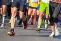Marathon running race, people feet on road Royalty Free Stock Photo