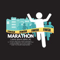 Marathon winning athlete crosses the finish line vector illustration Stock Photos