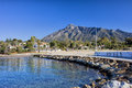 Marbella holiday resort in spain pier on the mediterranean sea and beach costa del sol andalusia Stock Photography