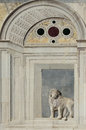Marble bas relief of a lion on campo santi giovanni e paolo in v venice italy Royalty Free Stock Image