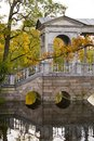 Marble bridge in the ekaterine park tzarskoye selo st peterburg fall russia Stock Photos