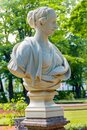 Marble Bust Of Roman Woman In Turban In Old City Park Summer Garden In St. Petersburg, Russia