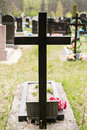Marble cross over the grave