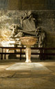 Marble Font and Romanesque Sarcophagus, Church of St. Trophime, Arles Stock Photo