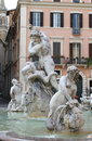 Marble Fountain in Navona Square, Rome Royalty Free Stock Photos