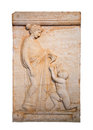 Marble grave stele shows a girl offering a bird to a naked boy found in vari attica b c isolated Stock Images
