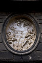 Marble incision of religion and people in the centre of napoli italy Royalty Free Stock Photos