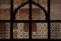 Marble lattice of the tomb. Fatehpur Sikri, India Stock Photo