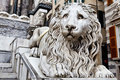 Marble Lion Guarding Cathedral of Saint Lawrence Stock Photography