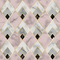 Marble Luxury Geometric Seamless Pattern. Vector Repeat Background