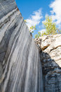 Marble rocks marble quarry in the wild republic of karelia natural stone ancient faults imperial times historic Royalty Free Stock Photography
