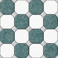 Marble square floor tiles with gray rhombs seamless pattern texture background - blue, green and white color Royalty Free Stock Photo