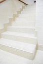 Marble staircase white in the modern house Stock Photo