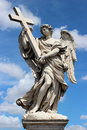 Marble statue of angel from the Sant'Angelo Bridge Royalty Free Stock Photo