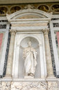 Marble statue of the apostle in the church yard of the Cathedral Basilica of St. Paul Fuori le Mura in Rome, Italy Royalty Free Stock Photo