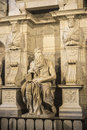 Marble statue of Moses sculpted by Michelangelo in Rome, Italy Royalty Free Stock Photo