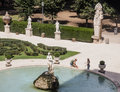 Marble statues and fountain in Villa Borghese, public park