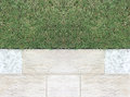 Marble Stone Pattern Sidewalk with Grasses in The Garden, Top View Royalty Free Stock Photo