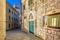 Marble streets in town Sibenik, Croatia. Royalty Free Stock Photo