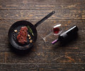 Marbled beef steak in a grill pan Royalty Free Stock Photo