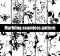 Marbling seamless pattern set. Marbled paper watercolor. Drawing on the water. Grunge textures black and white. Vector Royalty Free Stock Photo