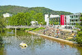 Marburg university campus germany june lahn river and students relaxing in front of canteen and cafeteria Stock Image