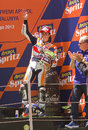 Marc marquez in the podium of honda team celebrating his rd position at motogp grand prix of catalunya on june montmelo barcelona Royalty Free Stock Photography