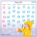 March calendar 2009 Stock Photo