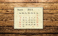 March calendar of on the wooden background Stock Photo