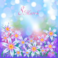 March card with abstract bokeh effect background Stock Images