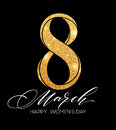 8 March celebration with eight symbol made of gold sparkling glitters. Womens Day concept design. Vector illustration
