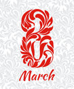 8 March. Decorative Font made of swirls and floral elements. Bac