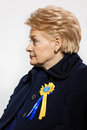 March of dignity in kyiv kiev ukraine feb lithuanian president dalia grybauskaite at the on the occasion the anniversary maidan Stock Images