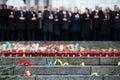 March of dignity in kyiv kiev ukraine feb prayer for peace at the independence square kiev president ukraine petro poroshenko Royalty Free Stock Photo