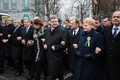 March of dignity in kyiv kiev ukraine feb president ukraine petro poroshenko foreign leaders and distinguished guests took part Stock Photos