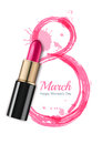 8 March greeting card, International Women`s Day. Pink lipstick and watercolor number eight.