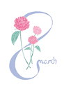 8 March greeting card. Women s Day design template with flowers