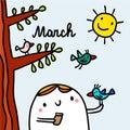 March hand drawn illustration with cute marshmallow feeding bird