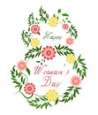 March 8. Happy Women Day. Vector spring holiday illustration