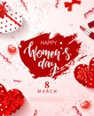 8 March - Happy Women s Day Festive Card. Beautiful Background with gift boxes in heart shape, bow, lipstick and Royalty Free Stock Photo
