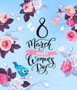 8 March. Happy Women`s Day greeting card. Lovely hand lettering surrounded by half-colored roses, butterflies and cute