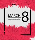 8 March holiday background with paper cut Frame Flowers. Happy Mother`s Day. Trendy Design Template. Vector illustration.