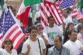 March for Immigrants and Mexicans Stock Photos