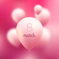 March international women day vector pink flying balloons with word march Royalty Free Stock Images
