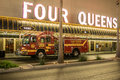 March madness precautions las vegas firetrucks are on alert as throngs of visitors visit the fremont street experience during in Stock Image