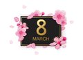 8 march modern background design with flowers. Happy women`s day stylish greeting card with cherry blossoms and petals.