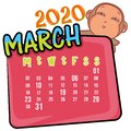 March 2020 month with so cute monkey cartoon